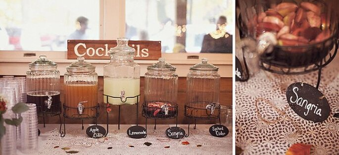 Bebidas súper originales para tu boda - Foto Sarah Culver Photography
