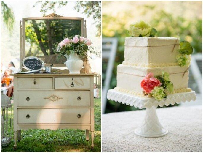 Integra las jarras y jarrones en los montajes de tu boda - Foto Muir Adams Photography