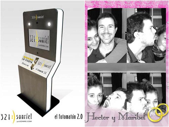 La sofisticada máquina y dos novios, Héctor y Maribel, retratados. FOTOS: 321:)sonríe