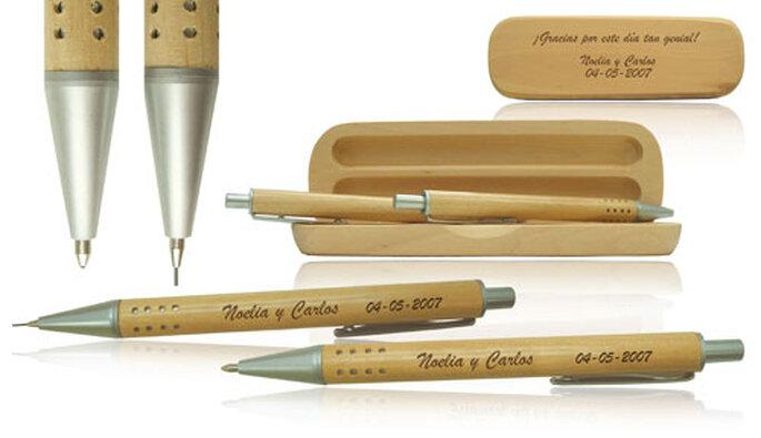 Boligrafos con estuche de madera
