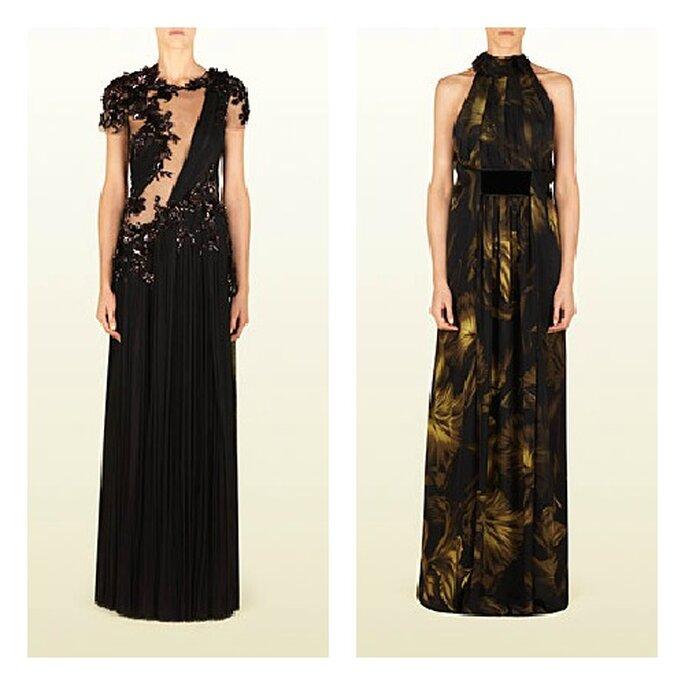 Ravissants modèles Gucci : l'un doté de dentelle noire transparente et l'autre d'un motif fleuri tout en finesse. Photo: Gucci