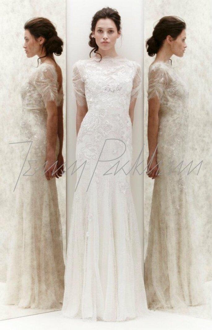 Vestido de novia con transparencias y encaje -Foto Jenny Packham