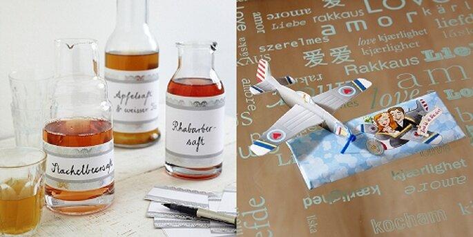 Flaschenetiketten und Papierflieger, Foto: van harte