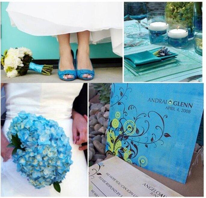 O azul turquesa em todos os detalhes. Foto:weddingsonthefrenchriviera