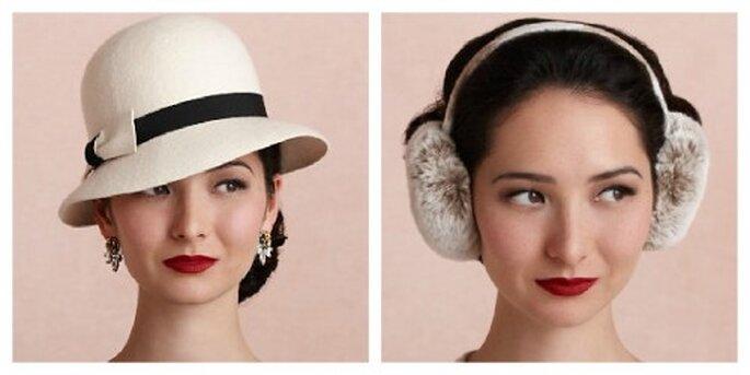 Perfekt für ein Brautkleid im Vintage-Stil – verspielte Ohrenwärmer aus Pelz oder einen eleganten Hut – Foto:bhldn