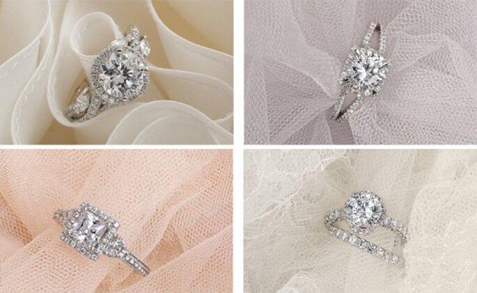 Romanticos anillos de compromiso de la diseñadora Monique Lhuillier - Foto Blue Nile