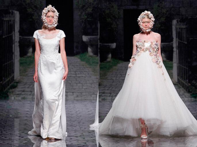 """Da Victorio y Lucchino, le proposte 2013 presentate al Barcelona Bridal Week 2012: il bouquet d aindossare, sia in versione """"mascherina"""" con veletta, sia direttamente sull'abito. Foto: ameliste.it"""