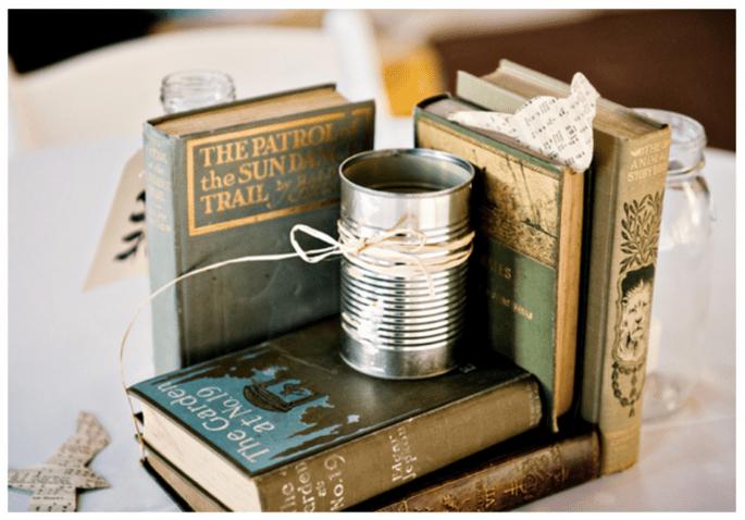 Los libros crearán un hermoso enfoque estético en los centros de mesa de tu boda - Foto Lovely Union