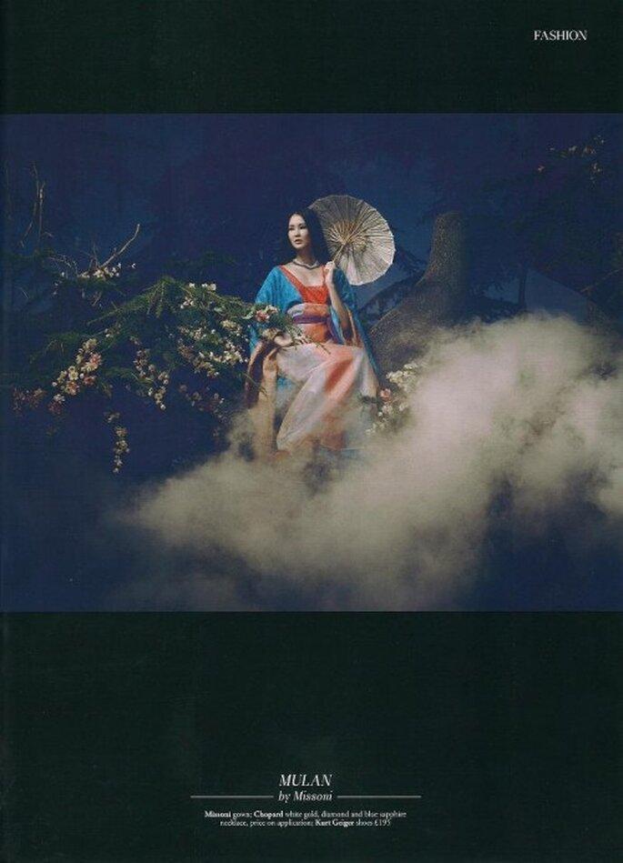 Publicidad de Harrods con el vestido de novia Missoni inspirado en Mulan - Foto Harrods