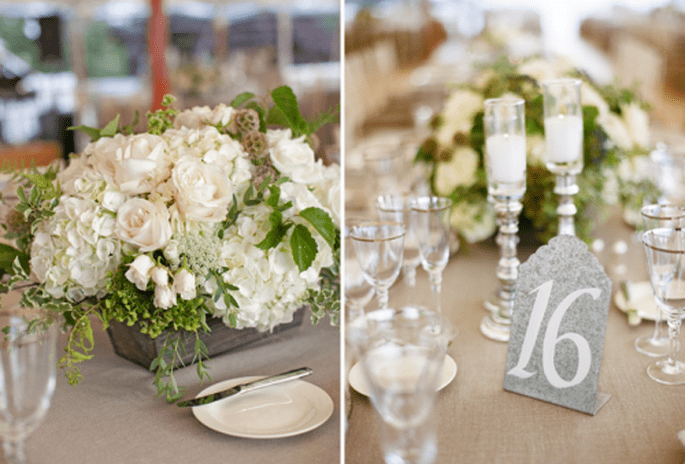 Inspiración números de mesa para tu boda. Fotografía Aaron Delesie