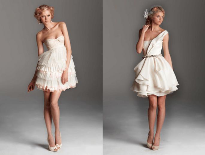 Vestidos de novia cortos con escote strapless y tirante en un sólo hombro y faldas voluminosas - Foto Rafael Cennamo