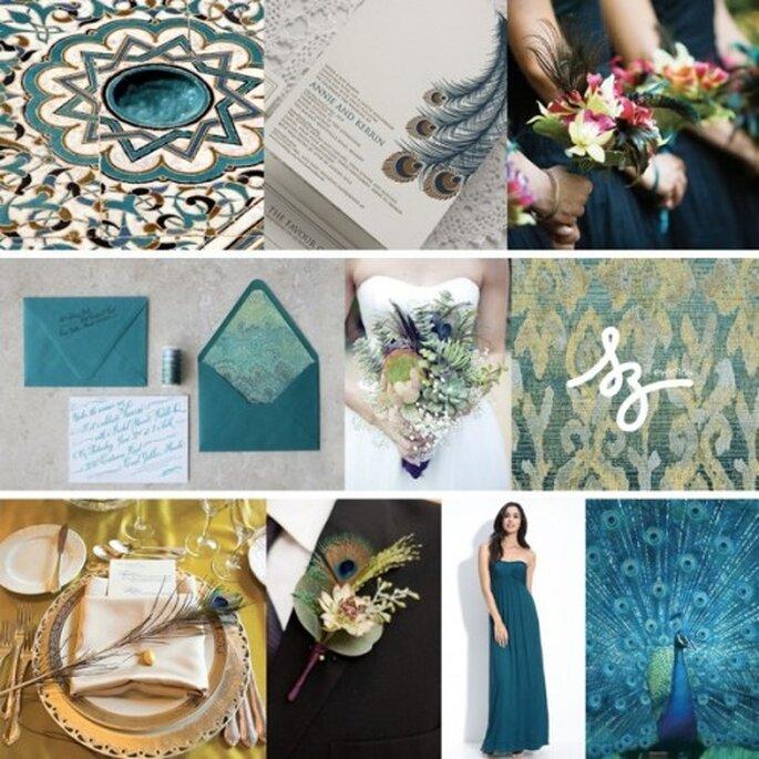 Collage de inspiración para decorar una boda con detalles color azul índigo - Fotos: brides.com, shop.nordstrom.com, pearsontextiles.com, weddingchicks.com - Diseño de Raisa Torres para SZ Eventos