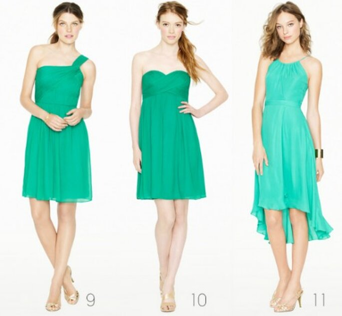 Vestidos cortos para damas de honor en color menta - Foto: J.Crew Bridesmaid Collection