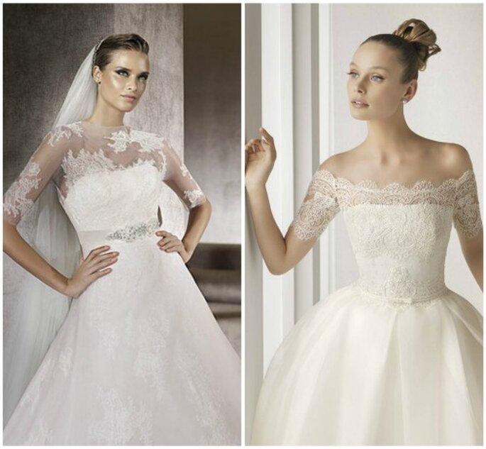 Vestido de novia con encaje. Fotos Pronovias y Rosa Clará