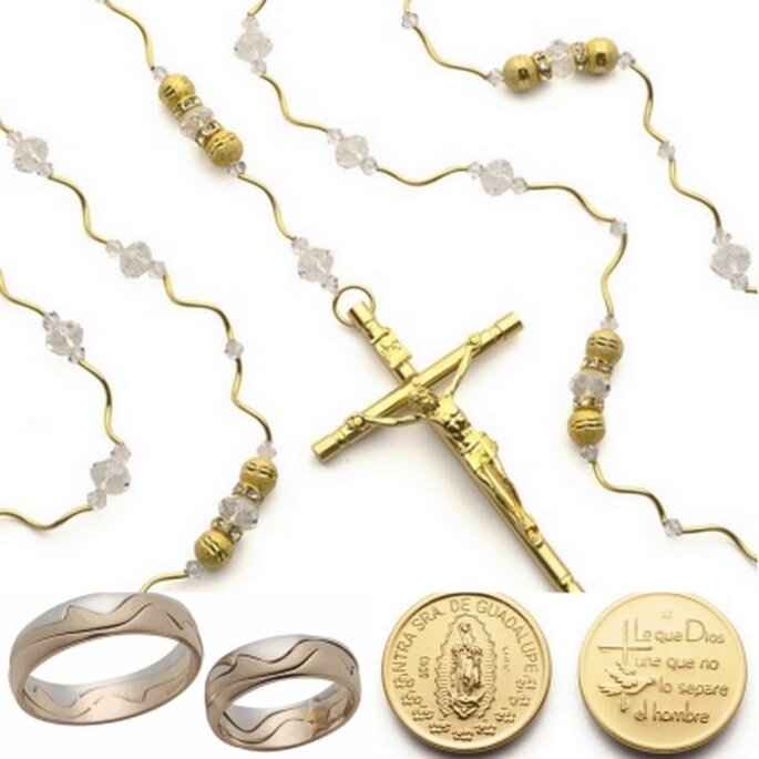 Los elementos en la ceremonia religiosa: Anillos, arras y lazo