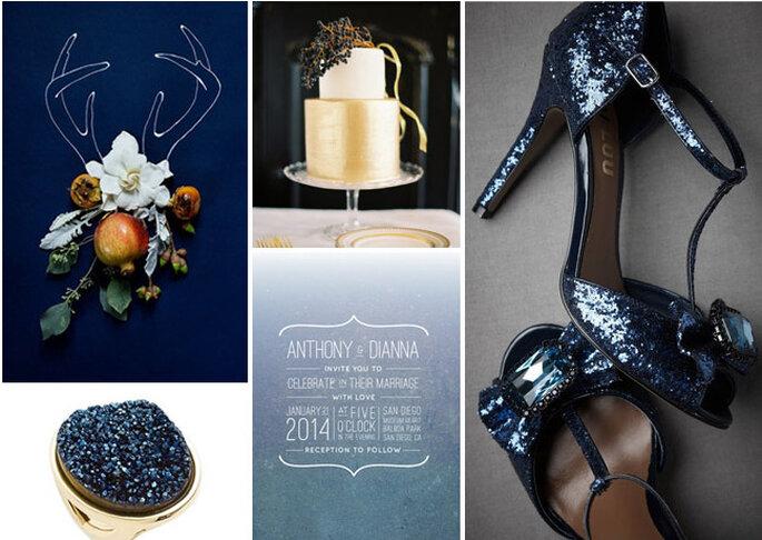 Toda tu boda en azul. Fotos: Green Wedding Shoes Wedding Blog
