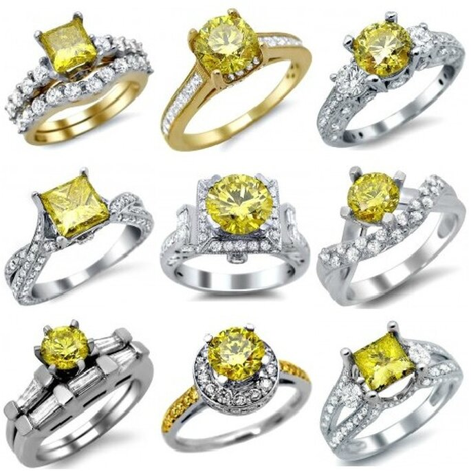 Tutte bellissime le montature di Front Jewelers che mettono in risalto il vero protagonista, il diamante giallo! Foto: Front Jewelers