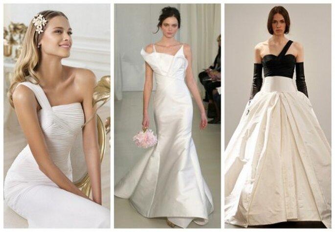 Vestidos de novia con escote asimétrico - Foto Pronovias, Ángel Sánchez y Vera Wang