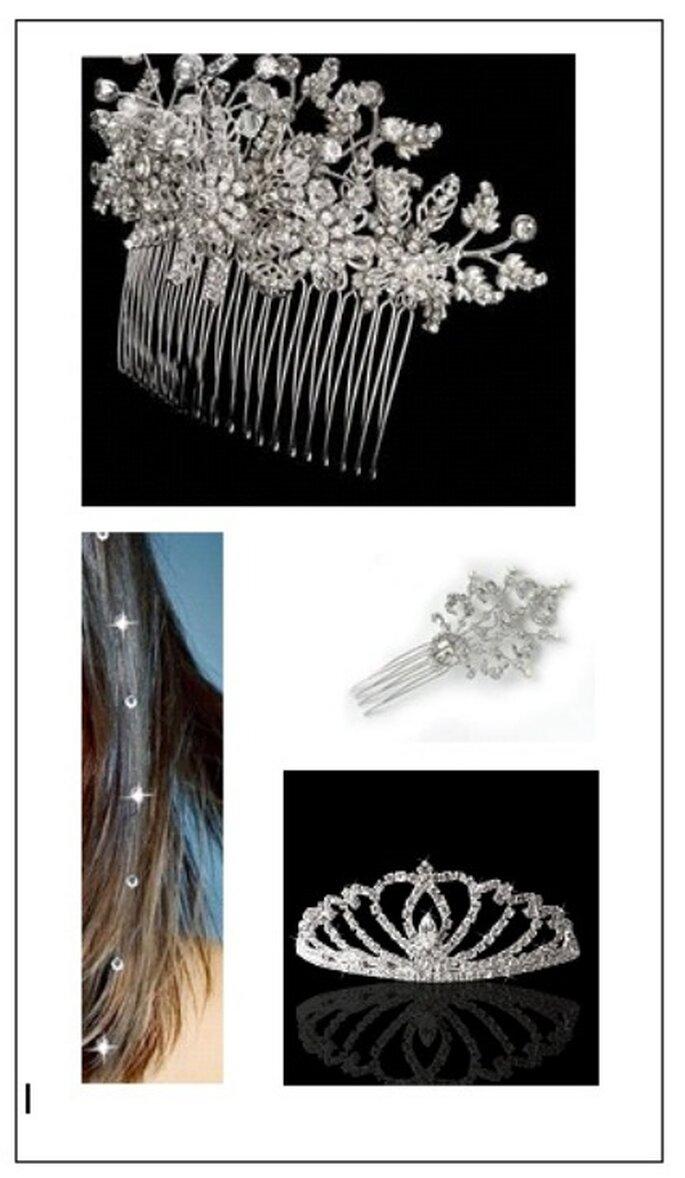 Chispas de cristal Swarovski dan un toque especial al peinado.