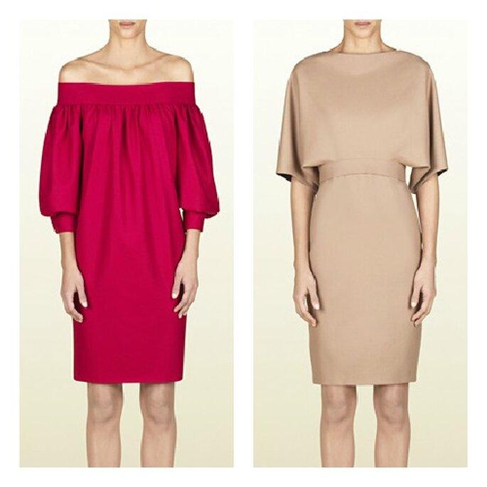 Deux robes courtes Gucci parfaites pour un mariage : modèle en soie de couleur cerise avec épaules apparentes et manches bouffantes ¾, et un modèle en soie de couleur nude avec ceinture à la taille et manches aux coudes. Photo: Gucci