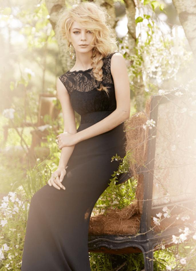 Vestido para dama de boda en color negro con cuello ilusión - Foto Occasions en JLM Couture