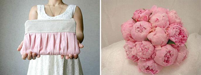 Pochette di Wedding Bag Boutique e bouquet Testa Flora