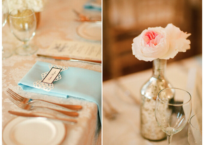 Flores en colores pasteles de una mesa elegante. Foto: Jen Lynne