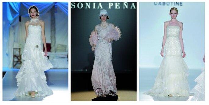 Trouwjurken in de stijl van de jaren '20. Inmaculada Garcia, Sonia Peña, Cabotine door Gema Nicolas Collectie; Barcelona Bruids Week, Foto: Ugo Camera