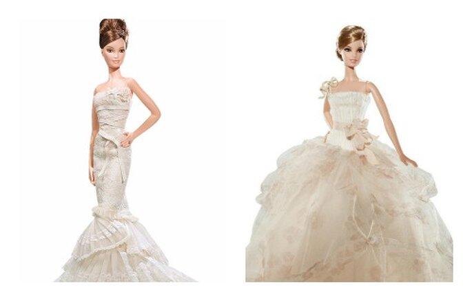 Due interpretazioni di Vera Wang la barbie sposa romantica a sinistra e tradizionalista a destra. Foto www.barbiecollector.com