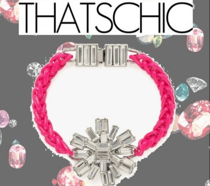 Brazalete para novia en color rosa neón - Foto Kate Spade, collage hecho en Clothia