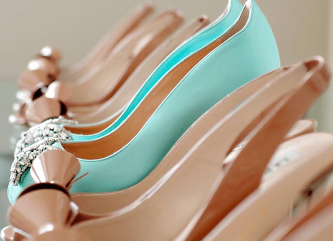 Zapatos de novia color nude para boda 2013. Fotografía Jen Lynne