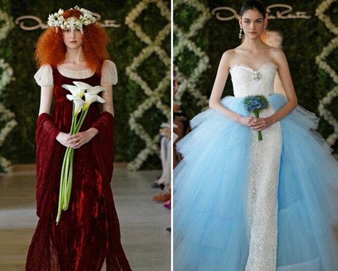 Robes de mariée de couleur rouge et bleue - Photographie: Oscar de la Renta 2013