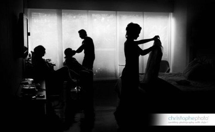 Hermosa fotografía blanco y negro.   Foto: christopheweddingphoto.com