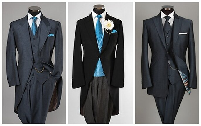 Da sinistra: Morning suit Air Force blu di William Hunt, Morning suit classico e 3-piece Lounge suit Air Force blu, sempre di William Hunt