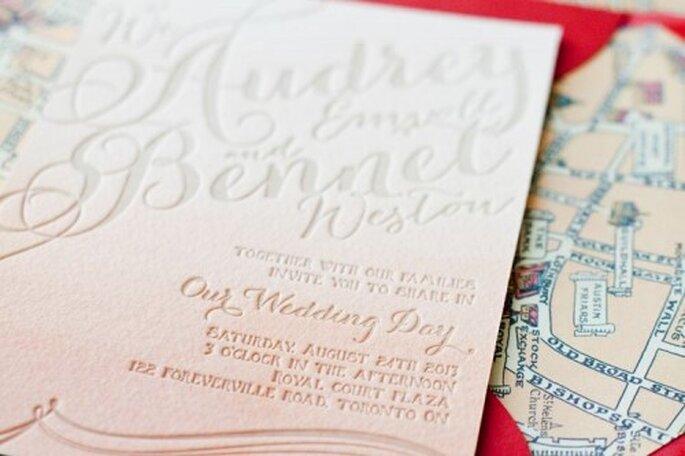 Invitaciones de boda estilo ombré de moda en 2013 - Foto Megan Wappel Designs Facebook
