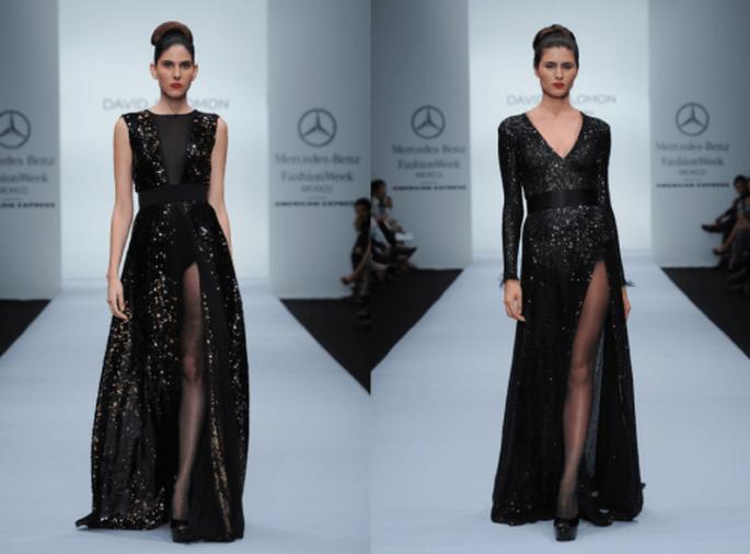 Vestidos de fiesta largos en color negro con aberturas en la pierna y lindos escotes - Foto Mercedes Benz Fashion Week México