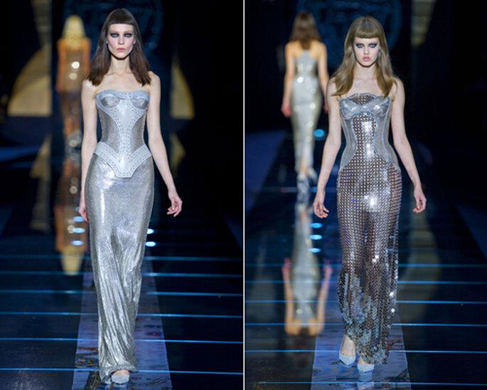 Modelaje con toque futurista en los vestidos de Invierno 2012 de Versace. Fotos de Versace