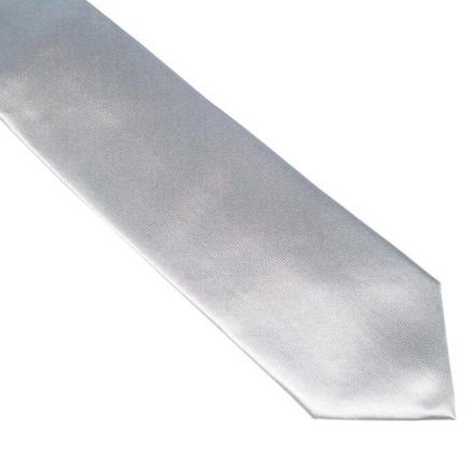 Cravate grise unie en microfibres Areyouchic