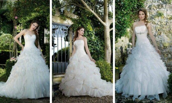 Tre modelli con voluminosa gonna multistrato in chiffon. Divina Sposa Collezione 2012