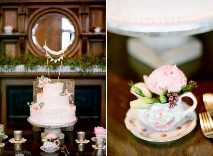 Decoración con inspiración vintage para el banquete de boda - Foto Jen Lynne