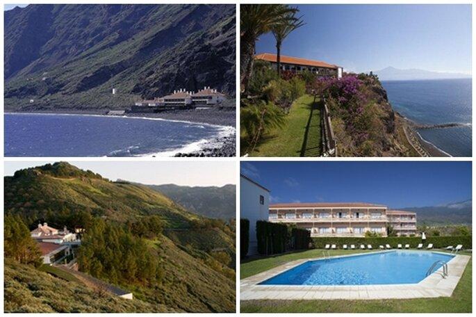 Dalla sinistra in alto, in senso orario: Paradores del Hierro, La Gomera, Cruz de Tejeda e La Palma. Foto: Paradores.