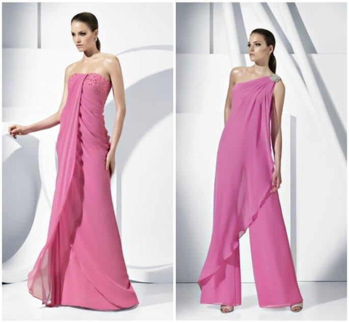 Dos propuestas en rosa para bodas, una con pantalón. Foto: Pronovias