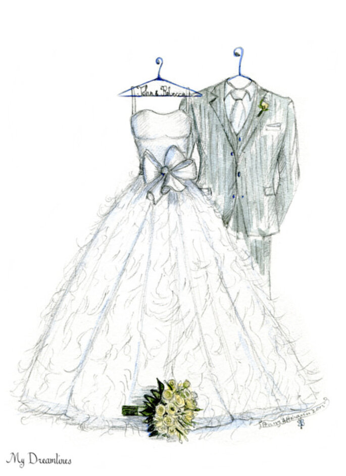 My Dreamlines Wedding Dress Sketch A Never Before Wedding Gift