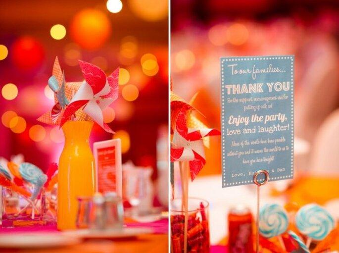 Olvídate de las flores y apuesta por incluir rehiletes en tus centros de mesa - Foto AJH Photography