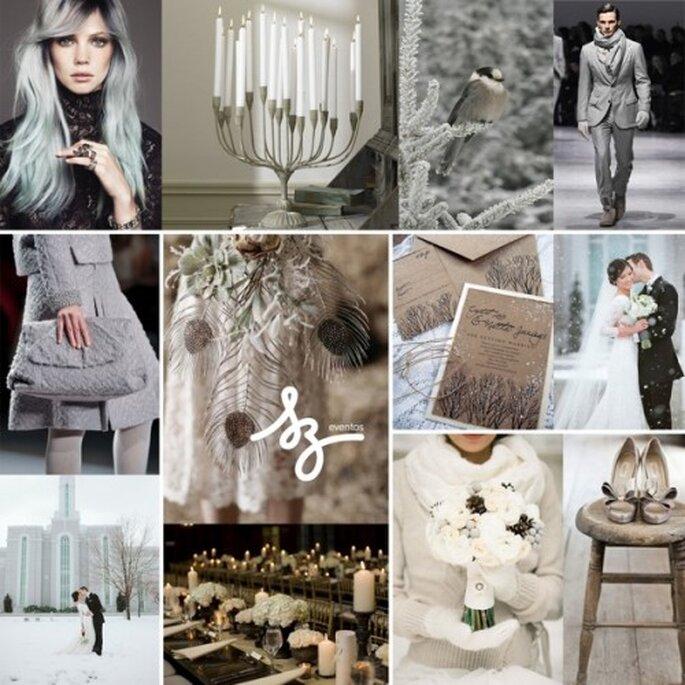 Collage para boda inspirada en el invierno - Fotos frugalfabbridal.blogspot.mx, sterlingandnicole.blogspot.ca, 3d-memoirs.com, mensfashionworld.tumblr.com, flickr.com, eliapan.tumblr.com - Diseño de Raisa Torres para SZ Eventos