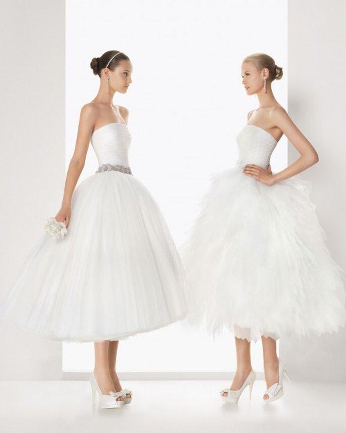 Vestidos de novia cortos con faldas confeccionadas en tul, perfectos para una boda civil - Foto Rosa clará