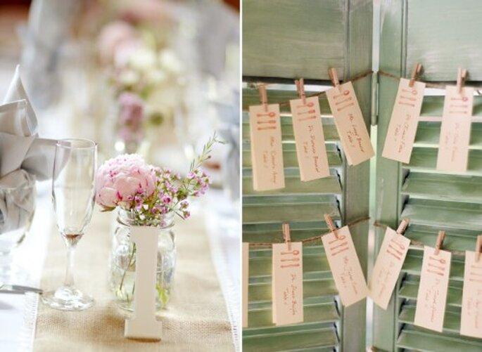 Centros de mesa con inspiración vintage con flores rosadas - Foto Jen Lynne