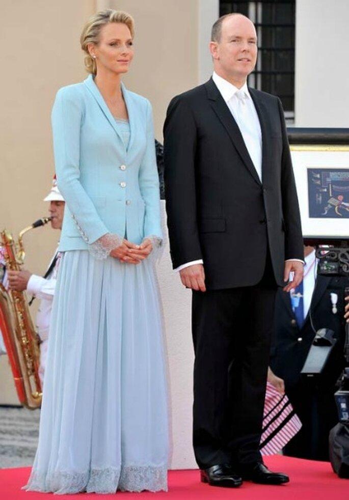 Vestido de novia de Charlene para la ceremonia civil - Hola