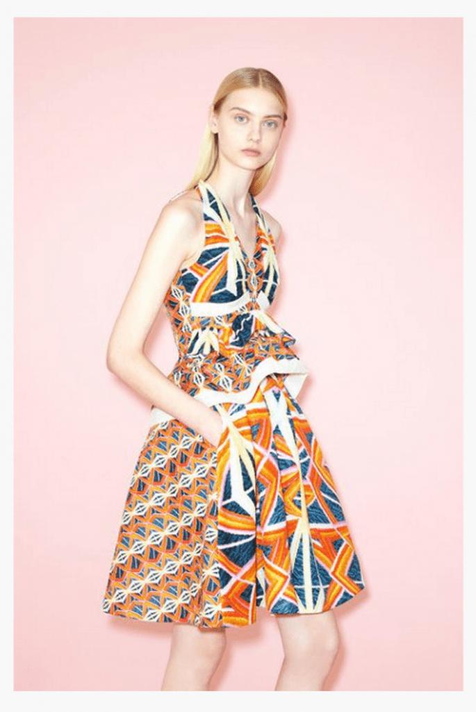 Vestido de fiesta 2014 con estampado geométrico multicolor - Foto Peter Pilotto