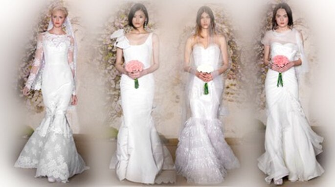 Kleider der neuen Kollektion im Meerjungfrauenschnitt